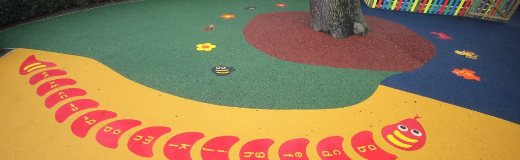Bespoke Playground Surfacing With Graphics in Northampton