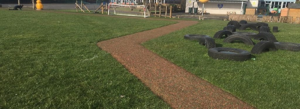 Rubber Mulch Daily Mile Track Installation in Leeds