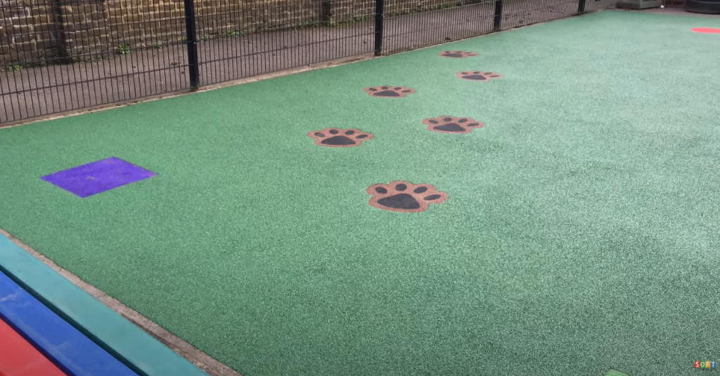 Spongy playground flooring construction that we carried out in Woking, Surrey